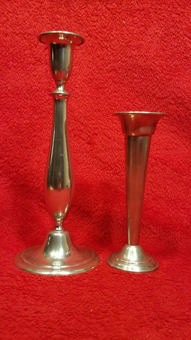 Set of 2 Pewter Taper Candlesticks