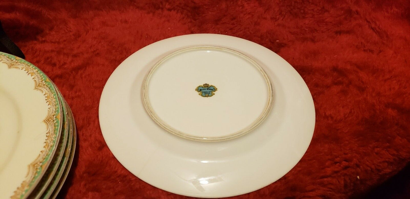 Lot 6: Meito Fine China Dessert/Bread Plates Green Brown Ivory White