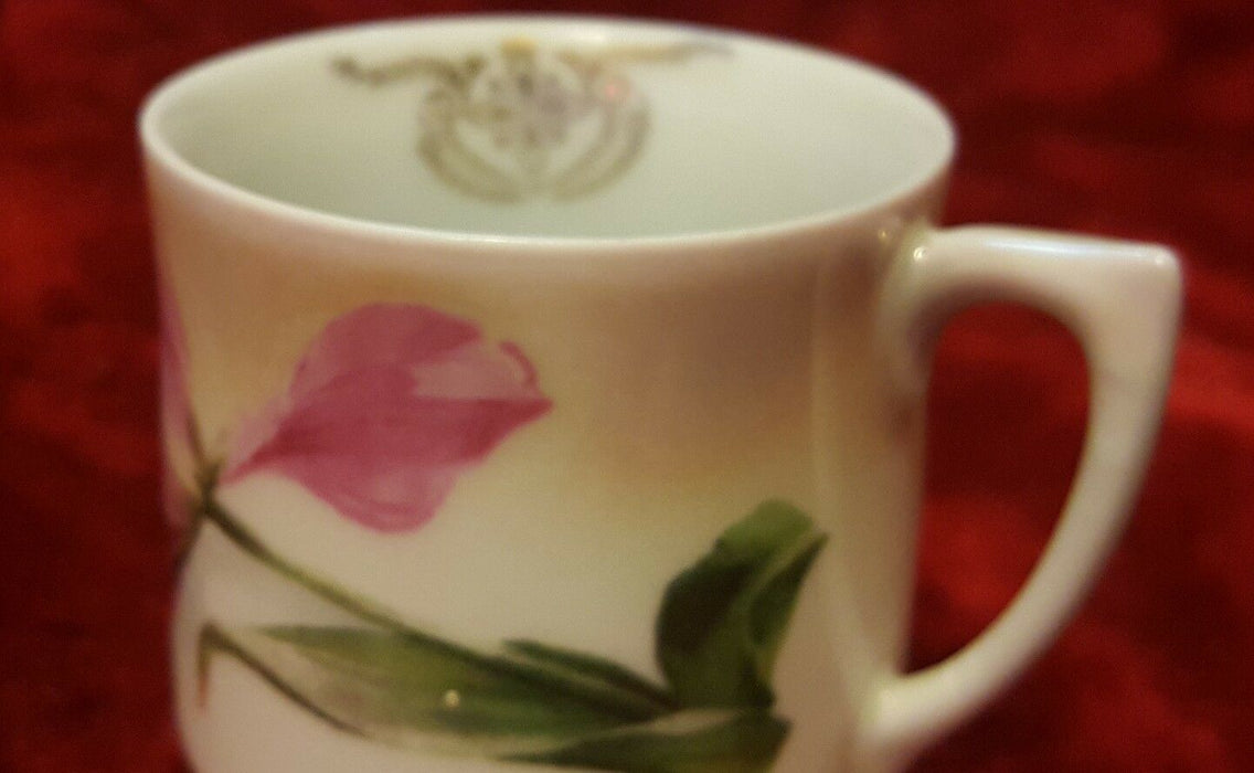 Vintage CT Altwasser Silesia Porcelain Tea Cup Pink Green Tulip Gold Insignia