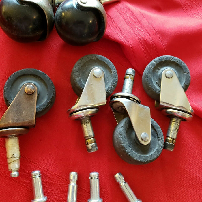 Mixed Lot (6): Casters Vintage Metal Steel Rubber Wheels Antique Salvage