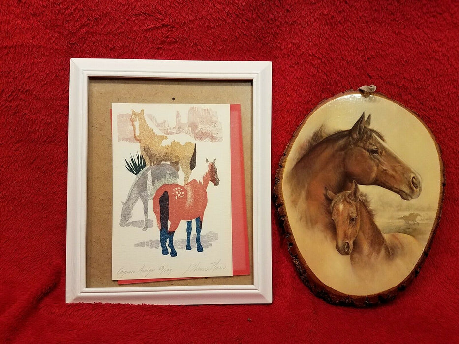 1 Signed, Numbered Framed Print on Card, One Horse and Colt on Wood Yellowstone