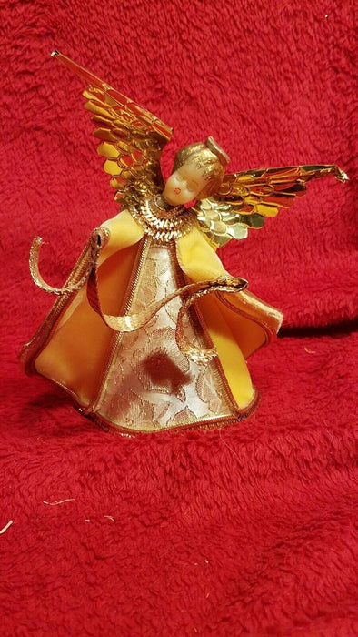 1950's Koestel Wax Angel Singing in Choir Figurine in Yellow Velvet Dress