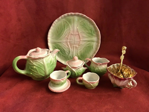 Vintage Ceramic Child's Tea Set PINK CABBAGE LEAF + extra gold cup & Spoon