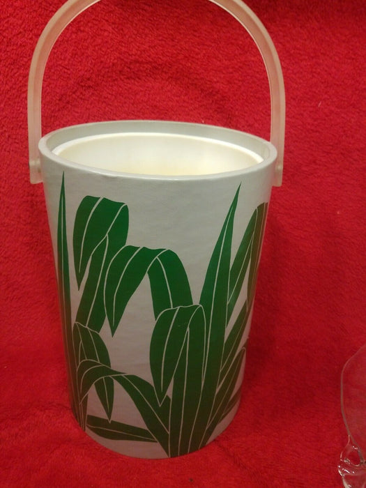 70's Green Plant Green Leaves Ice Bucket & Melamine Tray