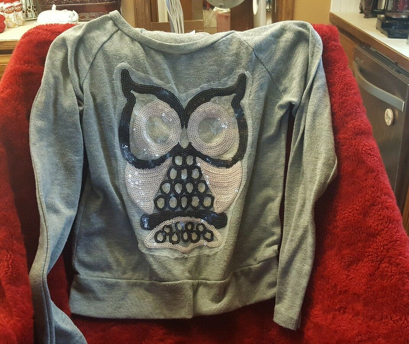 Cloudless Girls' long-sleeve sequin owl gray T-shirt SIZE 14/16