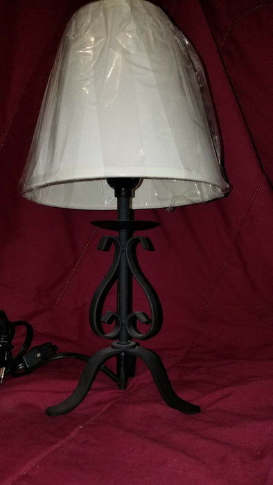 Cast Iron Table Bedside Lamp w/ White Shade