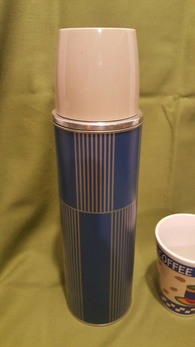 VINTAGE Tall Thermos Brand Product Keapsit Blue/Silver Striped, Quart, bonus mug