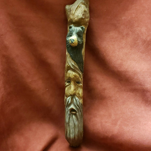 Numbered WOOD SPIRIT Carving SCULPTURE~Old Man & Bear Totem, 16""