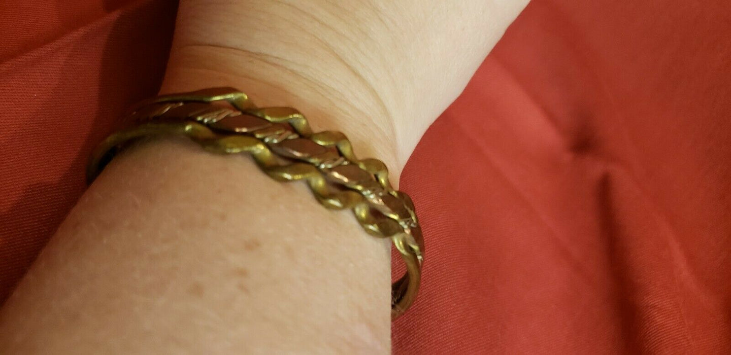Copper and Brass Cuff Bracelet Braided Look