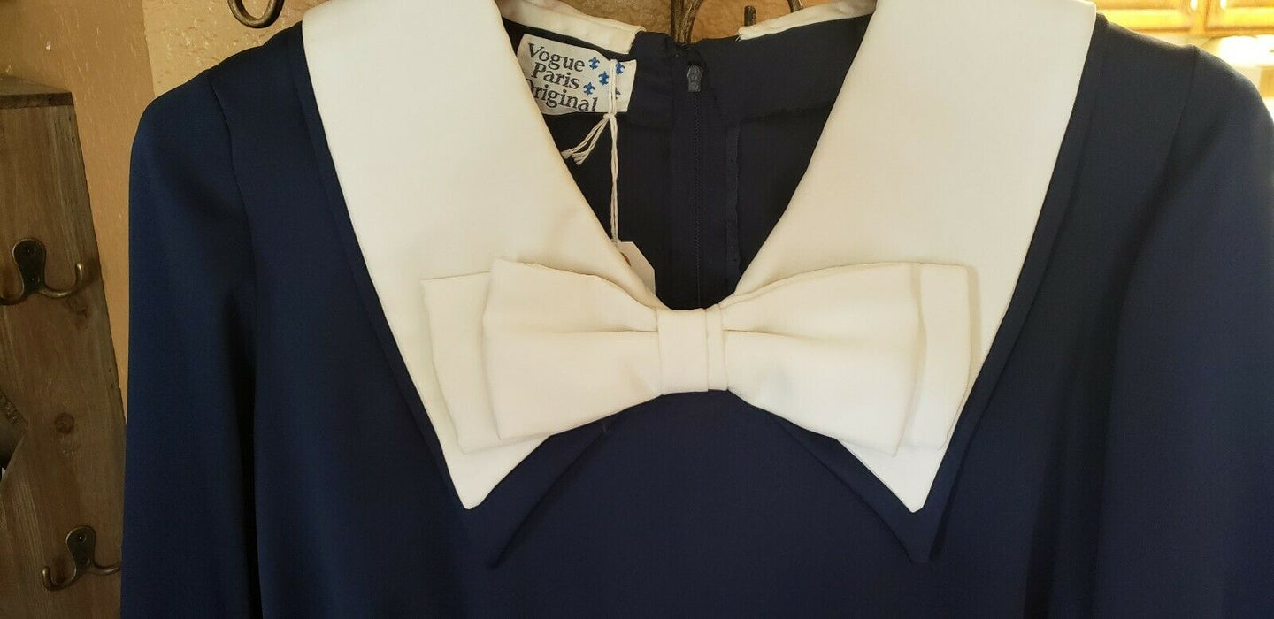 Vintage Style~Handmade~Vogue Paris Original Navy Blue w/ White Bow