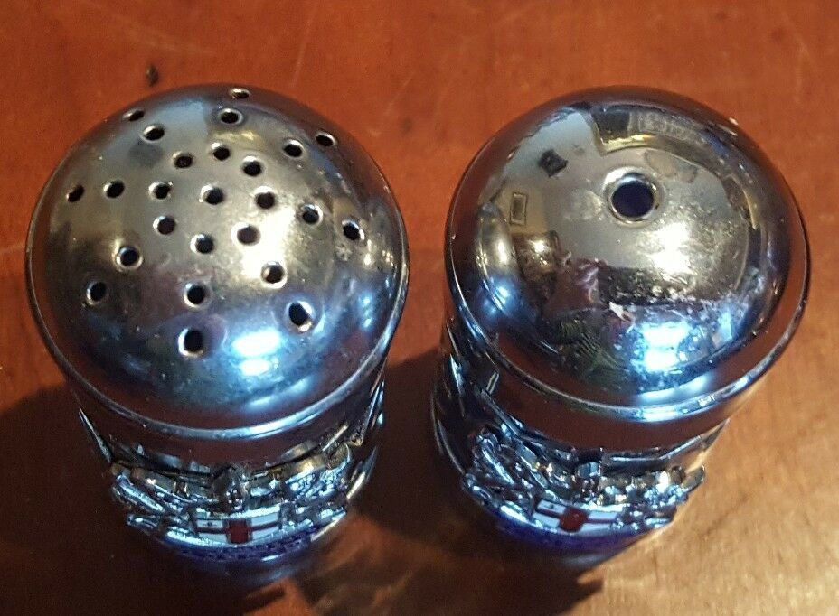 "Chrome Silver Domine Dirige Nos London mini 2"" Salt & Pepper Shaker Set"