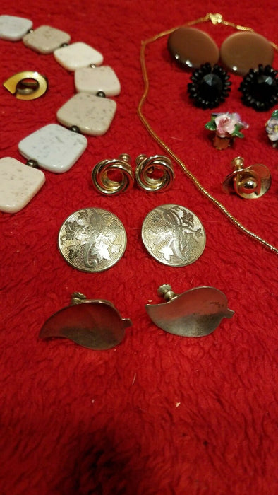 Vintage Costume Jewelry Lot 12 Clip on Screw On Earrings, 2 necklaces, 1 Pin