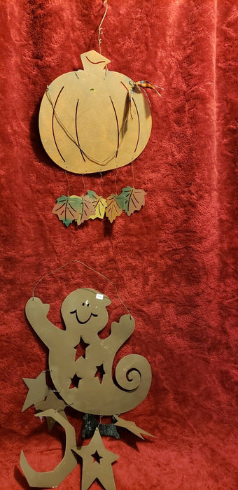 Metal Ghost and Pumpkin wall hangings