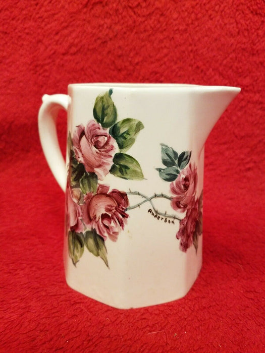 Homer Laughlin Pink Rose Milk Pitcher - B 42 N B  Octagon Shaped Signed Anderson
