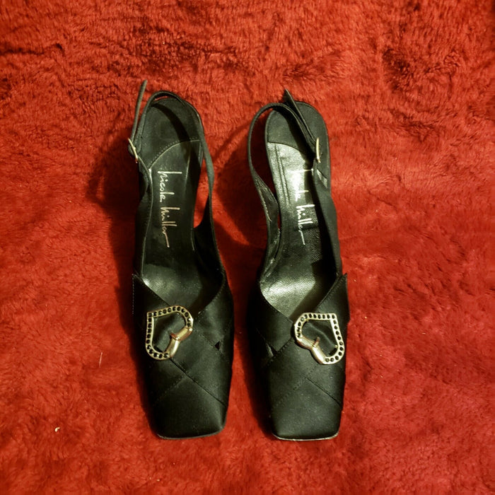 NICOLE MILLER BLACK SATIN SILVER HEARTS SLINGBACK PUMPS/SHOES, Size 6.5