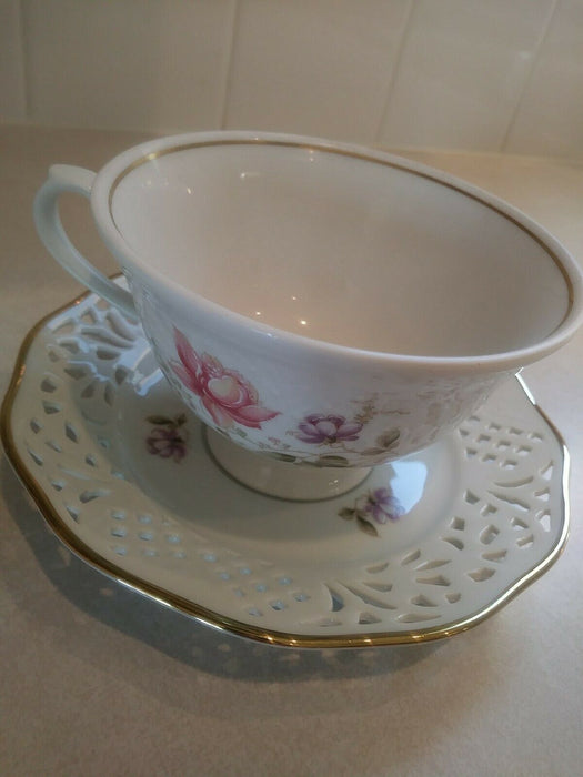 Bavaria Schumann Arzberg Germany,  Flower Tea Cup & Saucer (gold trim)