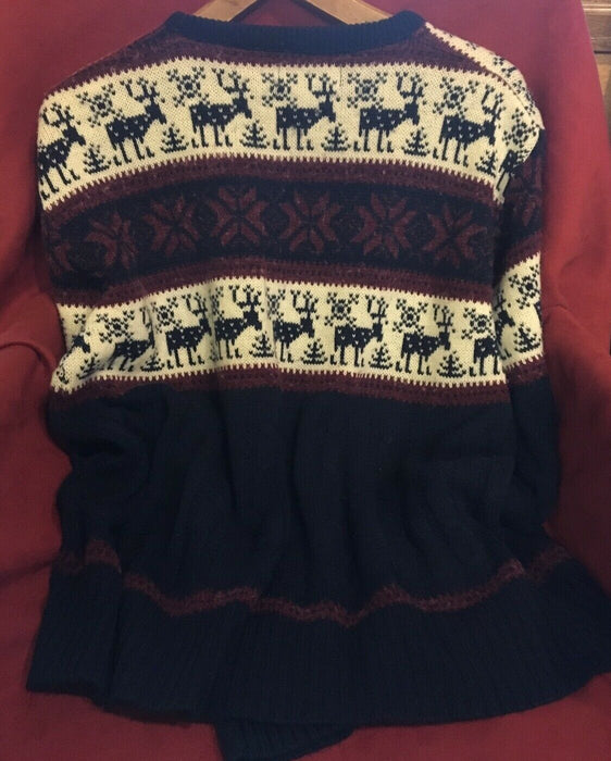 VTG 80s ~ NEWCASTLE KNITS REINDEER GRAPHIC SWEATER ~ Navy Blue ~ USA Made ~ XL