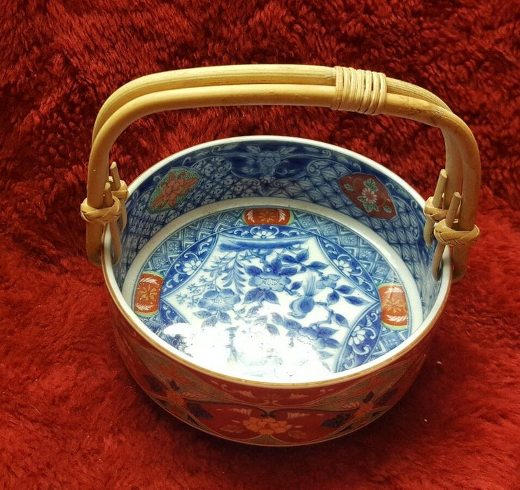 Lot 3:  China Bowl with Bamboo Handle, Regular Bowl and Metal Plate