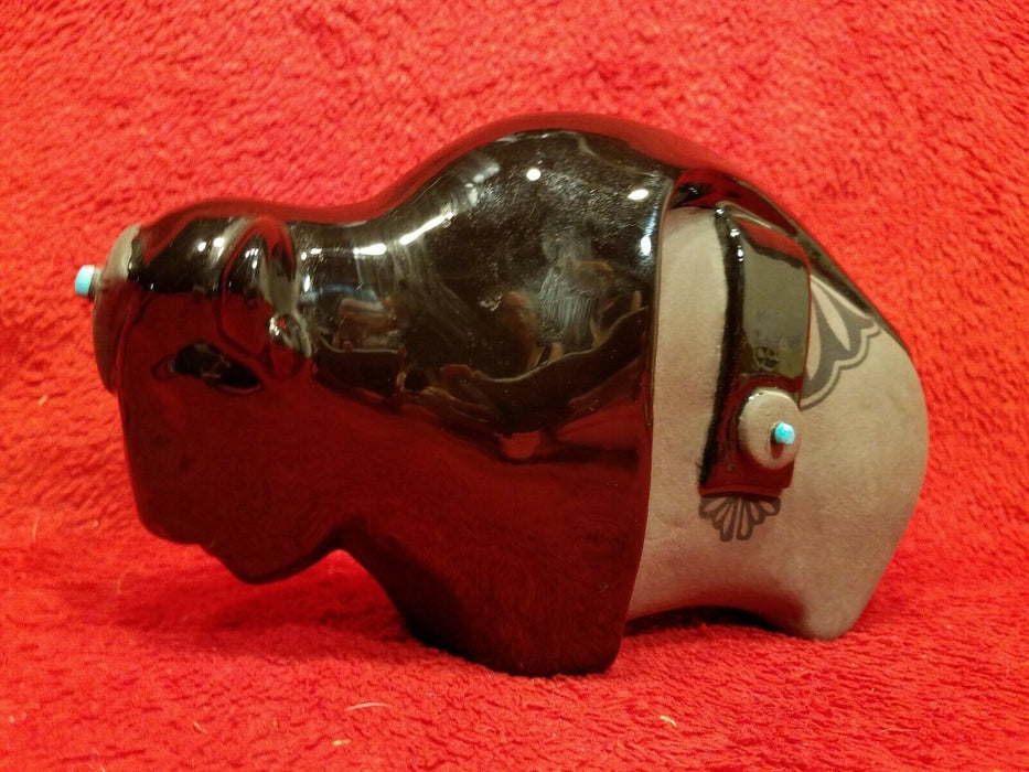 1990 Lawrence Vargas Signed Black Ceramic Buffalo Figurine w/ Turquoise Accents