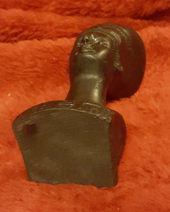 Hatshepsut EGYPTIAN PHAROAH BUST IN BLACK  Resin Small 4""