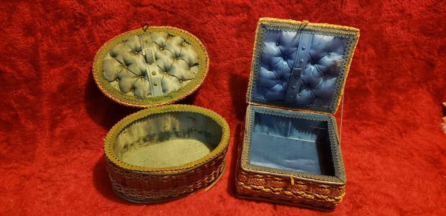 Lot 2 Antique Oval & Rectangular Twin Wicker Sewing Baskets, Made in Germany