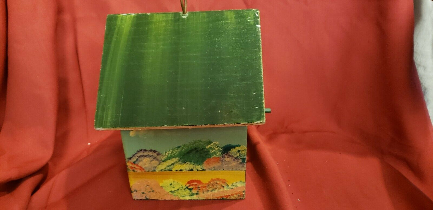 Bird House, shabby chic hand painted, house décor item, green w/ nature scene