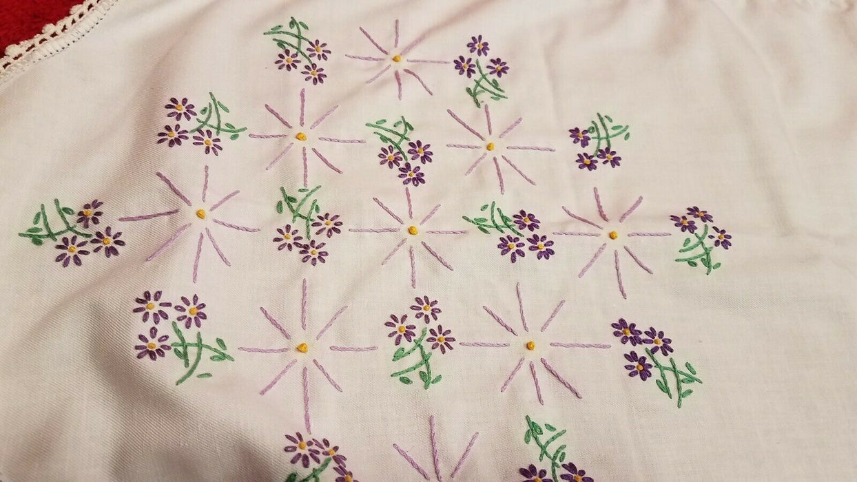 Hand Embroidered Oval Shaped White Cotton Table Runner with Purple Violets