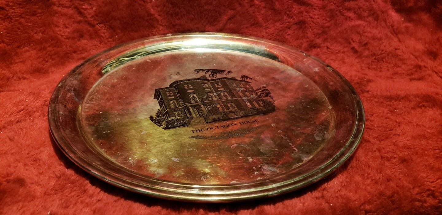 "Silver Plated 12"" Platter- The Octagon House Inscribed American Inst Architects"
