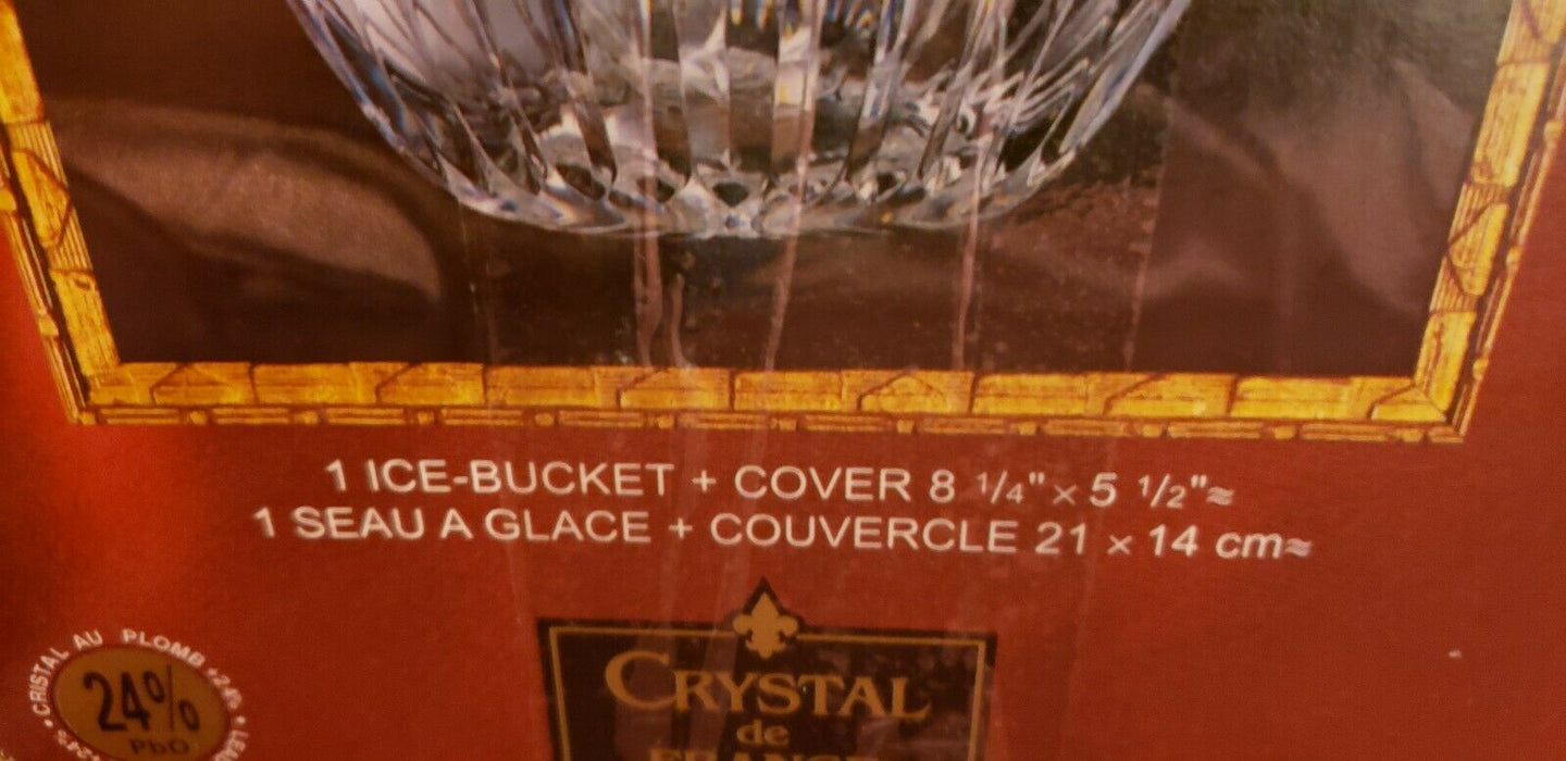 "PYRENEES CRYSTAL ICE BUCKET w/ LID BY CRYSTAL DE FRANCE NEW IN BOX 8.25"" X 5.5"""