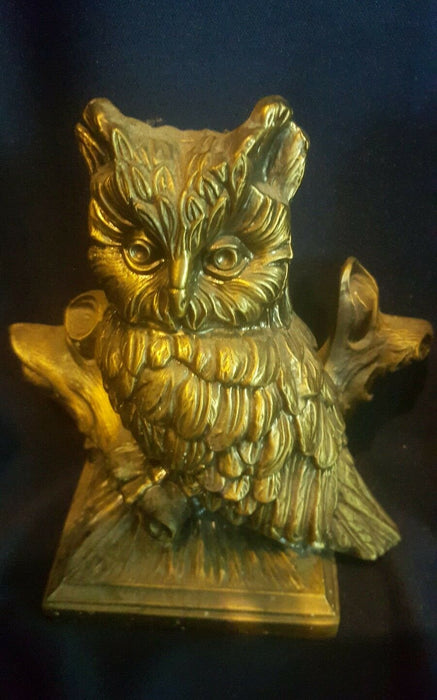 Lot 2: Owl figurines, Wood owl & Metal owl, both perched on a tree