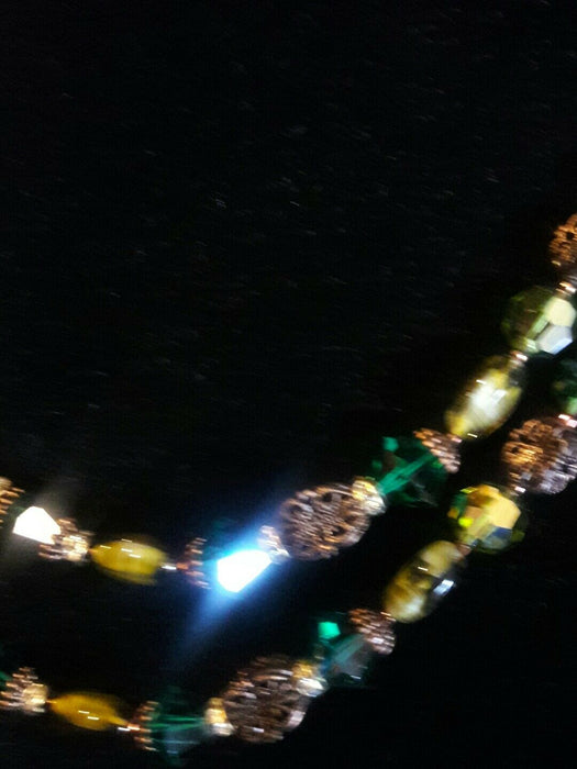 STUNNING MULTIBEADED VINTAGE DOUBLE STRAND GLASS BEADED GREEN NECKLACE