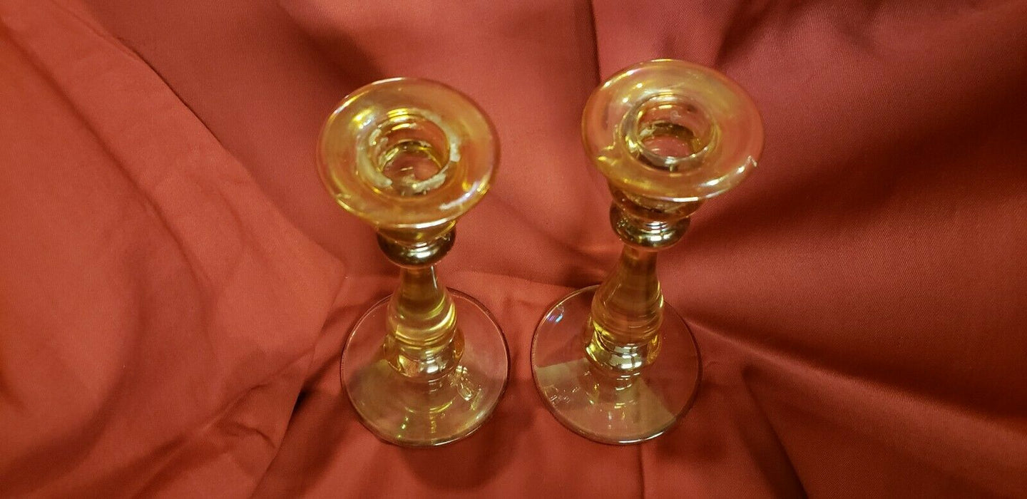 Lot 3:  Handblown Candle Stick Gold Pearlesque - set of 2 Vintage +bubble holder