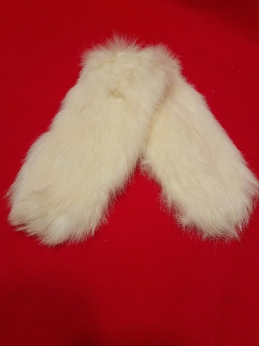 Vintage White Rabbit's Fur Mittens and Neck Collar