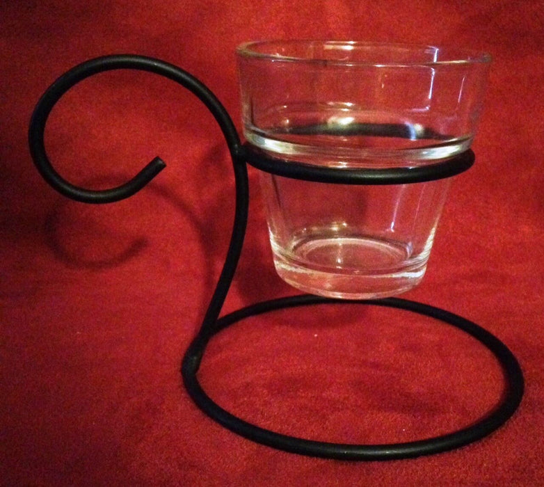 Metal & Glass Hanging Candle Holder w/ Carry Loop