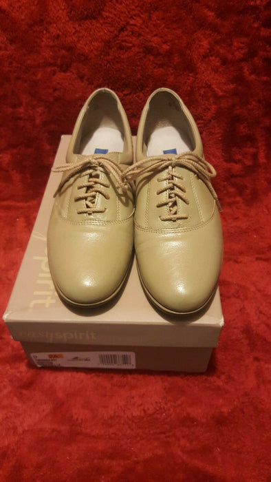 Women's Shoes Sz 9 Wheat Leather Easy Spirit Motion Tie Flats Oxfords