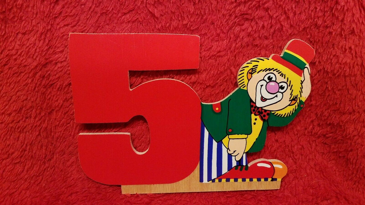 Set of Vintage Wooden Clown Numbers 1 - 6