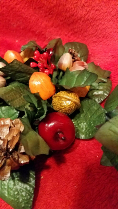 Set of 2 Faux Apple & Nuts Candle Rings Apples Almonds Walnuts w/ Greenery