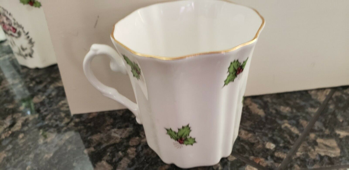 LOT 11: Royal Grafton Bone China England Tea Cups Coffee Mugs Mistletoe & Santa