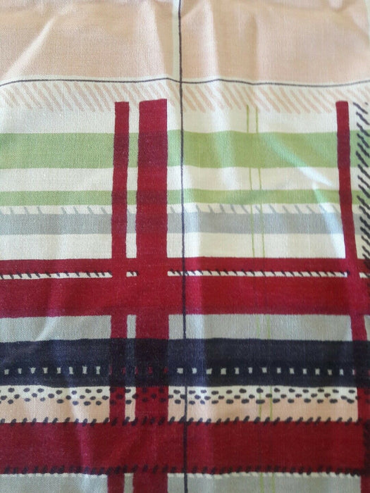 Linen Vintage Table Cloth Red Pink Green Modern Plaid 52x60