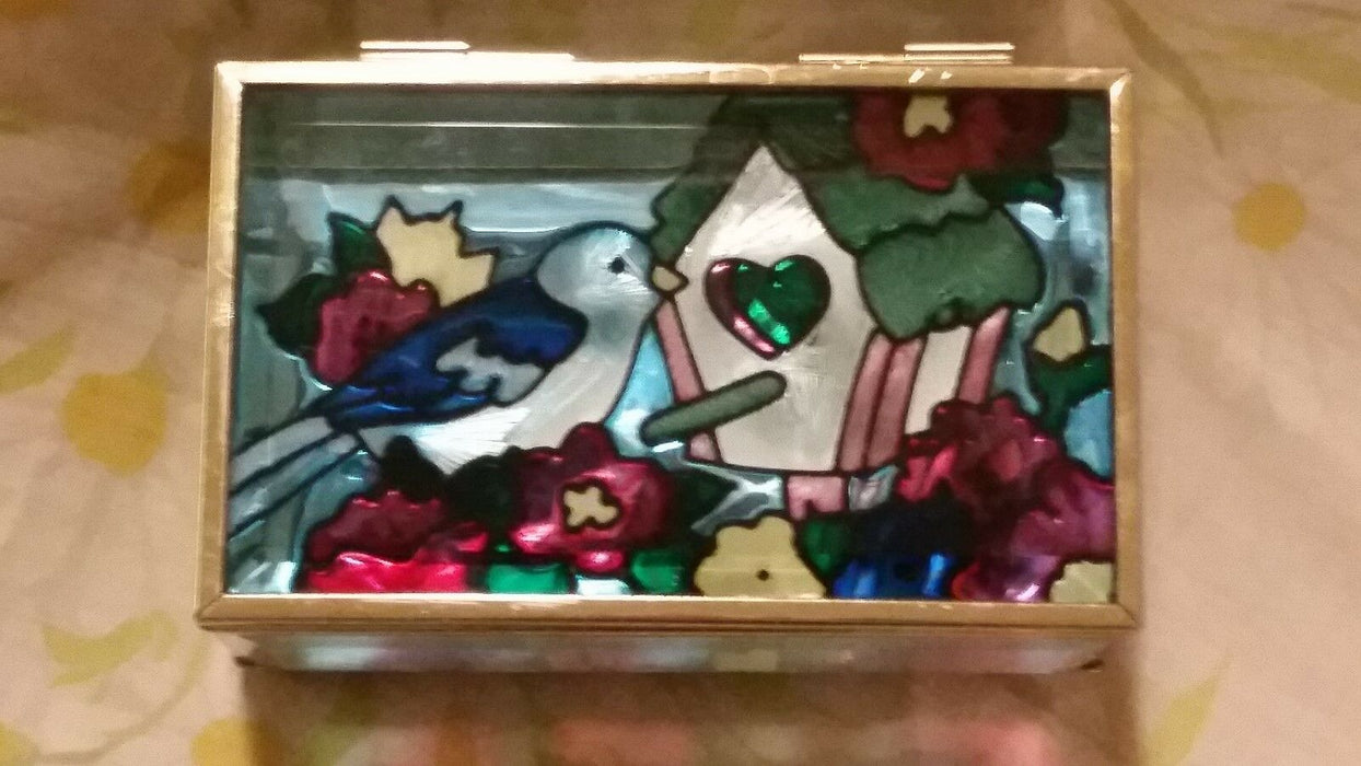 Glass Box With Metal Edging and Painted Bird With Birdhouse and Flowers On Top