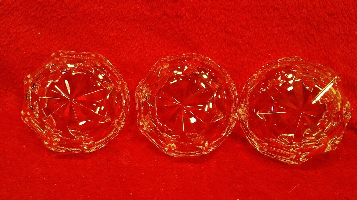 Trio of Circular Patterned Crystal Candy Dishes