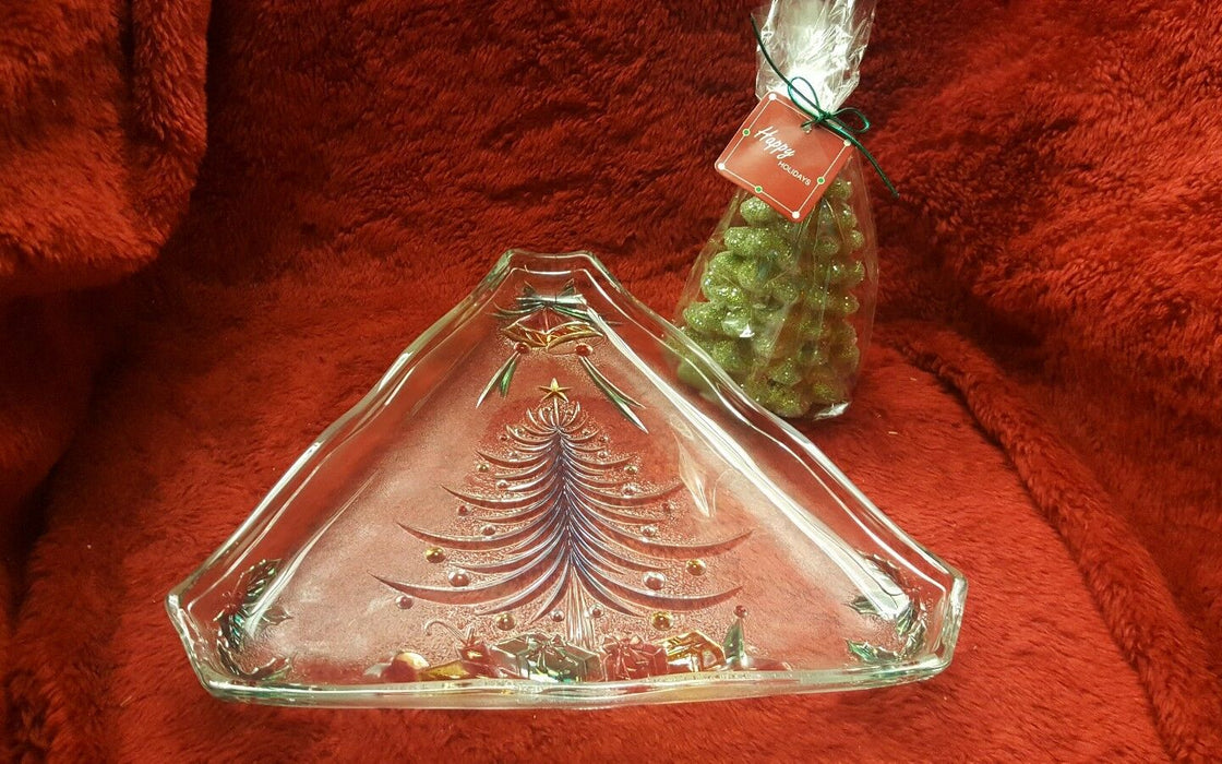 Holiday Spirit Christmas Tree Server Platter Plate Relish Tray, + tree candle