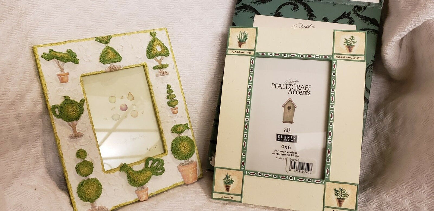 Pfaltzgraff Accents Naturewood Photo Frame Herb Corners, plus Fruit Garden Frame