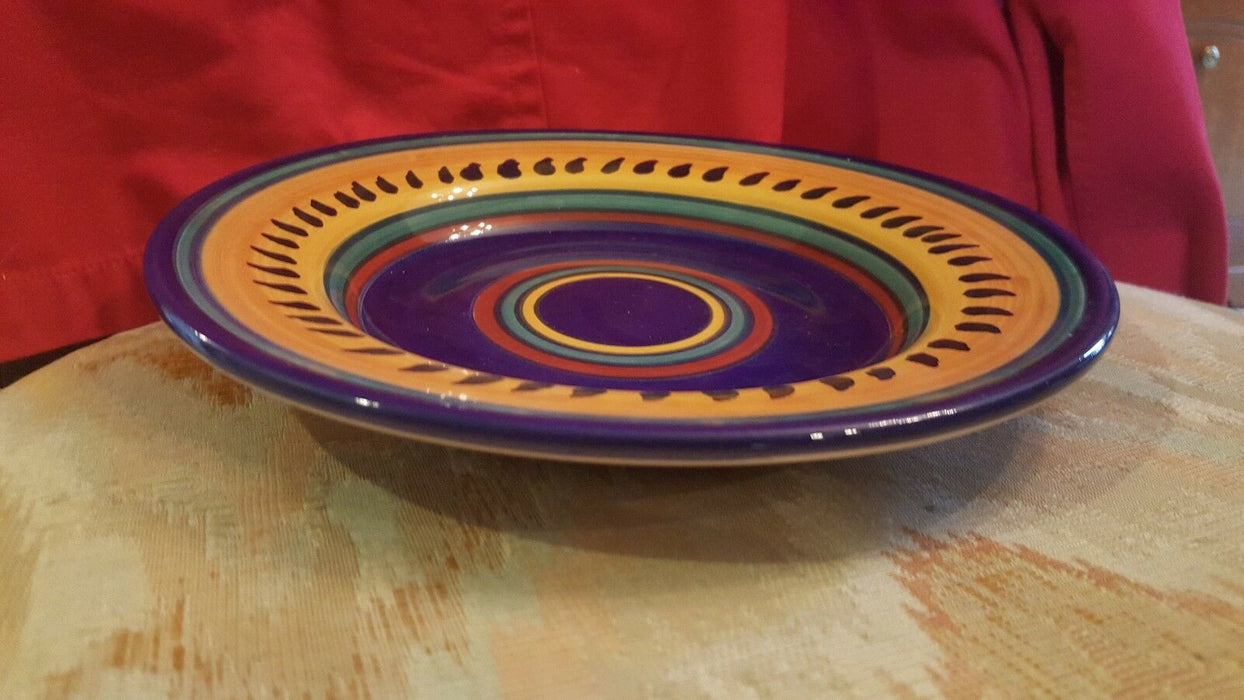 Pier 1 Italian Swirl Dinner Plate Hand Painted Earthenware, +colorful bowl