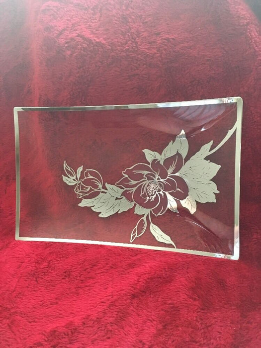 Large RECTANGULAR Hibiscus Flower Etched GLASS SERVING TRAY