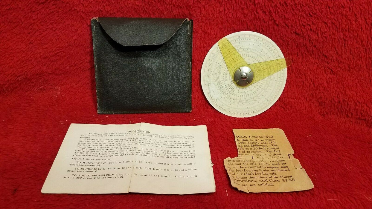 Vintage Midget Slide Rule w/ Instruction Manual and Carry Pouch
