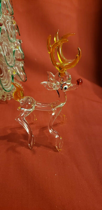 Lot 3: Hand Blown Glass Christmas Tree, Rudolph, Gold Colored Tree