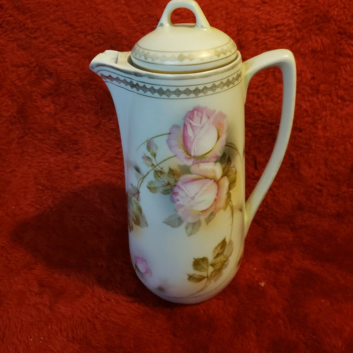 Vintage Hand Painted Made In Germany Roses Lidded Chocolate Pot