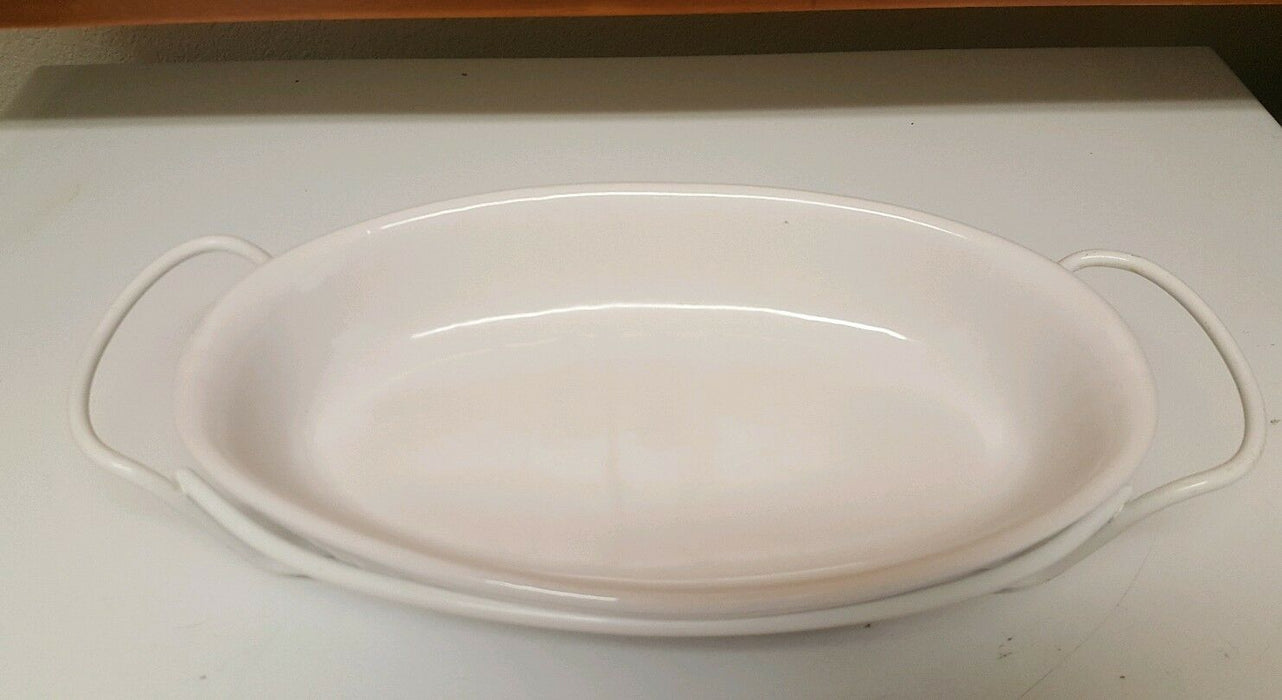 2 pc serving platter French White Oval Casserole on Stand w/ handles