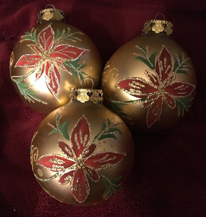 Lot 3: Victorian Rauch Christmas Ornament Glass hand painted/.Red & Gold glitter